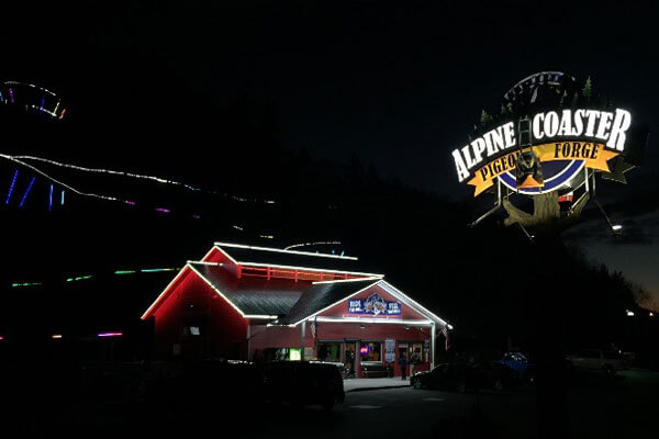 alpine coaster night show pigeon forge